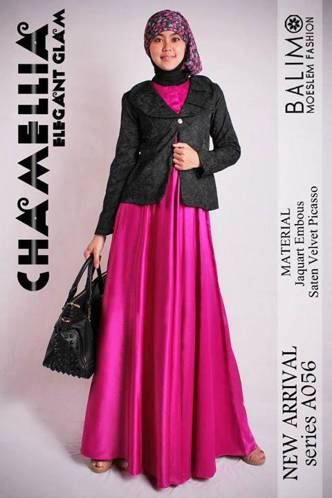 Balimo Chamellia Magenta Baju Muslim Gamis Modern