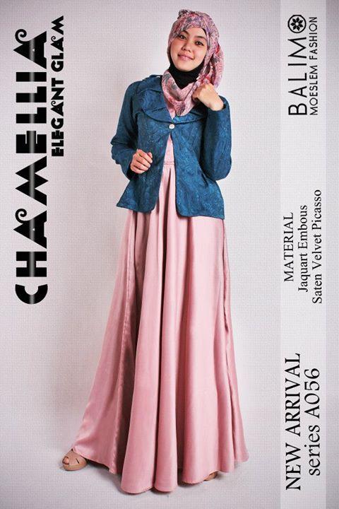 gamis muslimah cantik Pusat-Gamis-Terbaru-Balimo-Chamellia-Peach