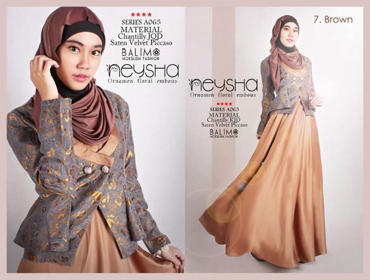 Balimo Neysha Brown Baju Muslim Gamis Modern