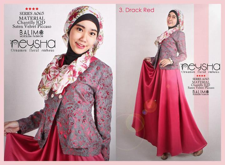 Balimo Neysha D Red Baju Muslim Gamis Modern