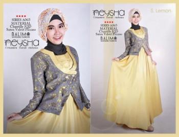 baju muslim modern full Pusat-Gamis-Terbaru-Balimo-Neysha-Lemon