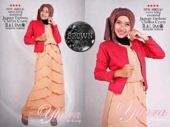 baju muslim modern 2014 Pusat-Gamis-Terbaru-Balimo-Yhara-Brown