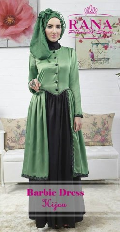 baju muslim modern full Pusat-Gamis-Terbaru-Barbie-Dress-by-Rana-Princes-style-Hijau