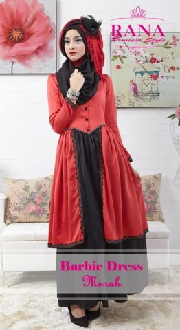 baju gaun muslim Pusat-Gamis-Terbaru-Barbie-Dress-by-Rana-Princes-style-Merah