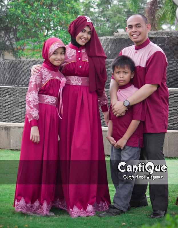 Cantique 1405 Merah Baju Muslim Gamis Modern