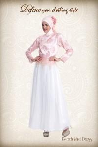 gaun muslim pesta Pusat-Gamis-Terbaru-Define-Peach-White