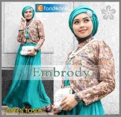 baju muslim modern full Pusat-Gamis-Terbaru-Embrody-Dress-by-Efandoank-Green Tosca