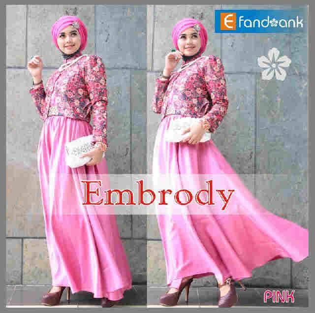 untuk dewasa Pusat-Gamis-Terbaru-Embrody-Dress-by-Efandoank-Pink