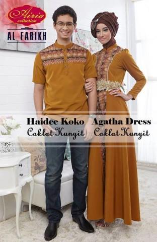 baju gaun muslim Pusat-Gamis-Terbaru-Haidee-Koko-dan-Aghata-by-Airia-Coklat-Kunyit