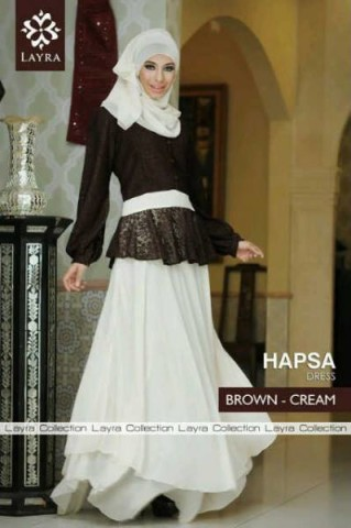 baju gamis pesta, Pusat-Gamis-Terbaru-Hapsa-by-Layra-Brown-Cream