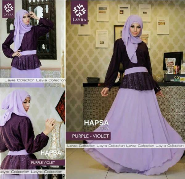 Hapsa By Layra Purple Vio Baju Muslim Gamis Modern