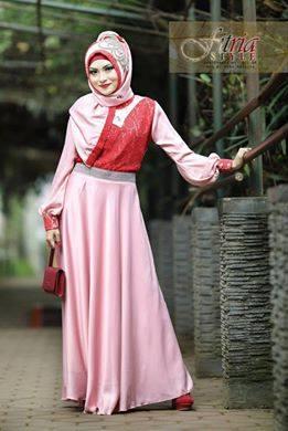 Hualifah By Fitria Style Pink Baju Muslim Gamis Modern