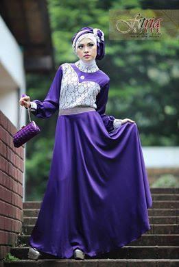 Hualifah By Fitria Style Ungu Baju Muslim Gamis Modern