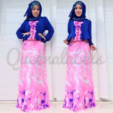 New Velash By Queena Blue Baju Muslim Gamis Modern