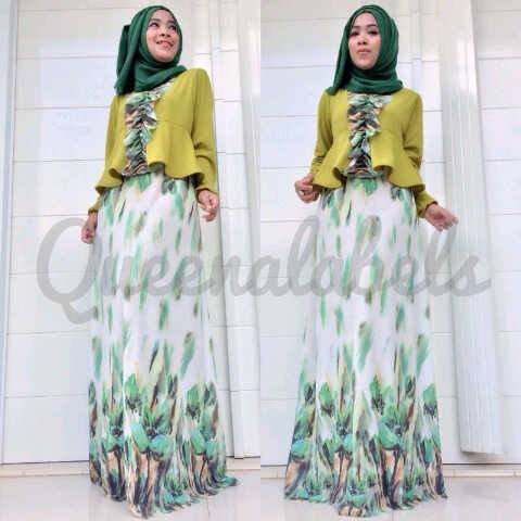 New Velash By Queena Hijau Baju Muslim Gamis Modern