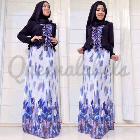 New Velash By Queena Hitam Baju Muslim Gamis Modern