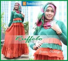 model baju muslim gaun Pusat-Gamis-Terbaru-Ruffelo-by-Efandoank-Green-Orange