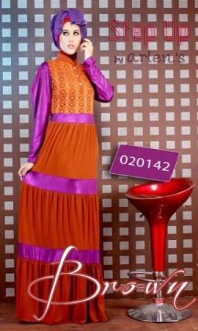 busana muslim trendy online Pusat-Gamis-Terbaru-Step-Up-Aspire-Brown