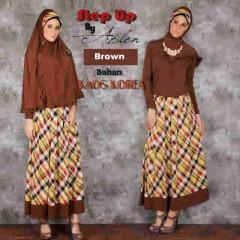 baju muslim bagus Pusat-Gamis-Terbaru-Step-Up-Jannatu-(0403)-Brown