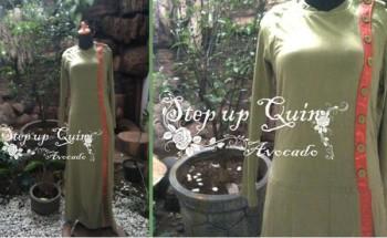 baju dress muslim online Pusat-Gamis-Terbaru-Step-Up-Quin-Avocado