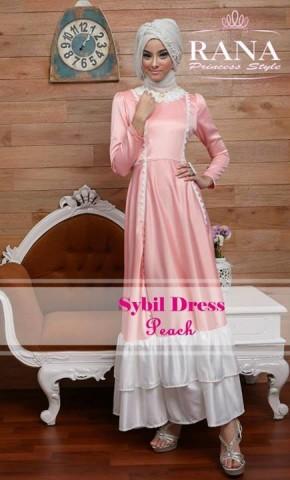 baju gaun muslim, Pusat-Gamis-Terbaru-Sybil-Dress-by-Rana-Princes-style-Peach