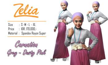 desain baju pesta, Pusat-Gamis-Terbaru-Zelia-Carnation-grey-Dusty-pink