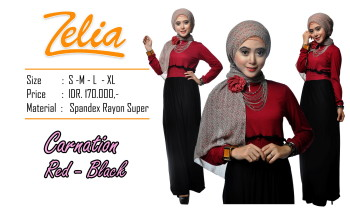 baju gaun pesta, Pusat-Gamis-Terbaru-Zelia-Carnation-red-black