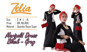 busana pesta Pusat-Gamis-Terbaru-Zelia-Marigold-Dress- Black-grey
