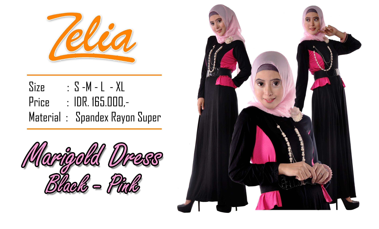 model baju gamis pesta Pusat-Gamis-Terbaru-Zelia-Marigold-Dress- Black-pink