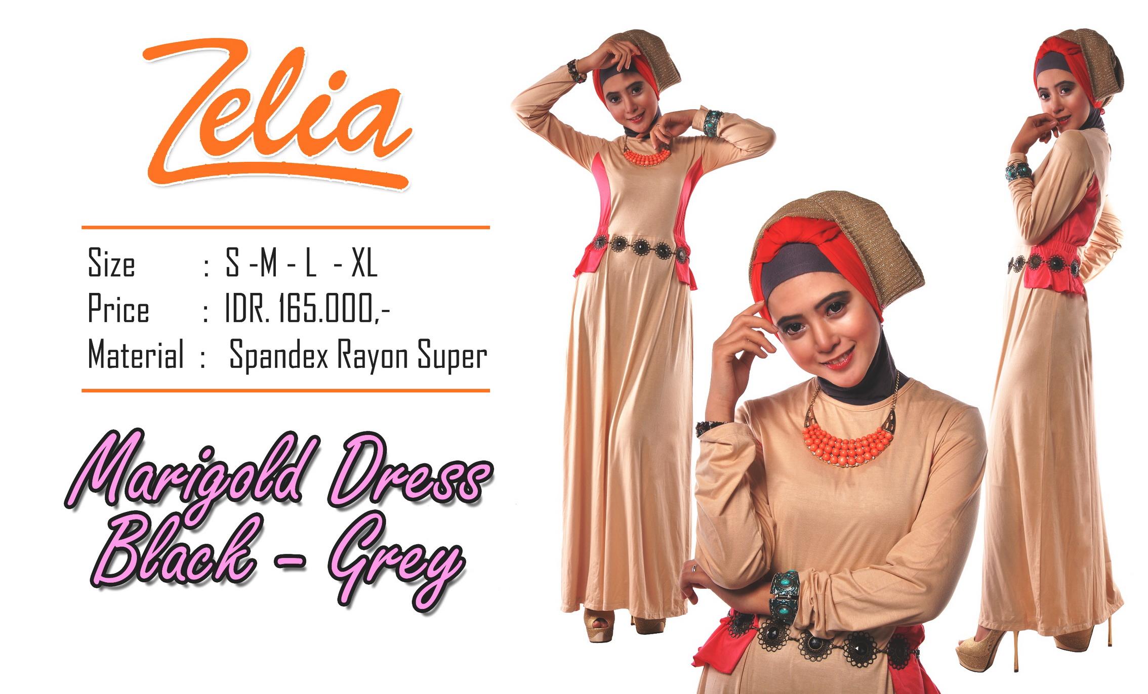 baju muslim modern Pusat-Gamis-Terbaru-Zelia-Marigold-Dress-Cream