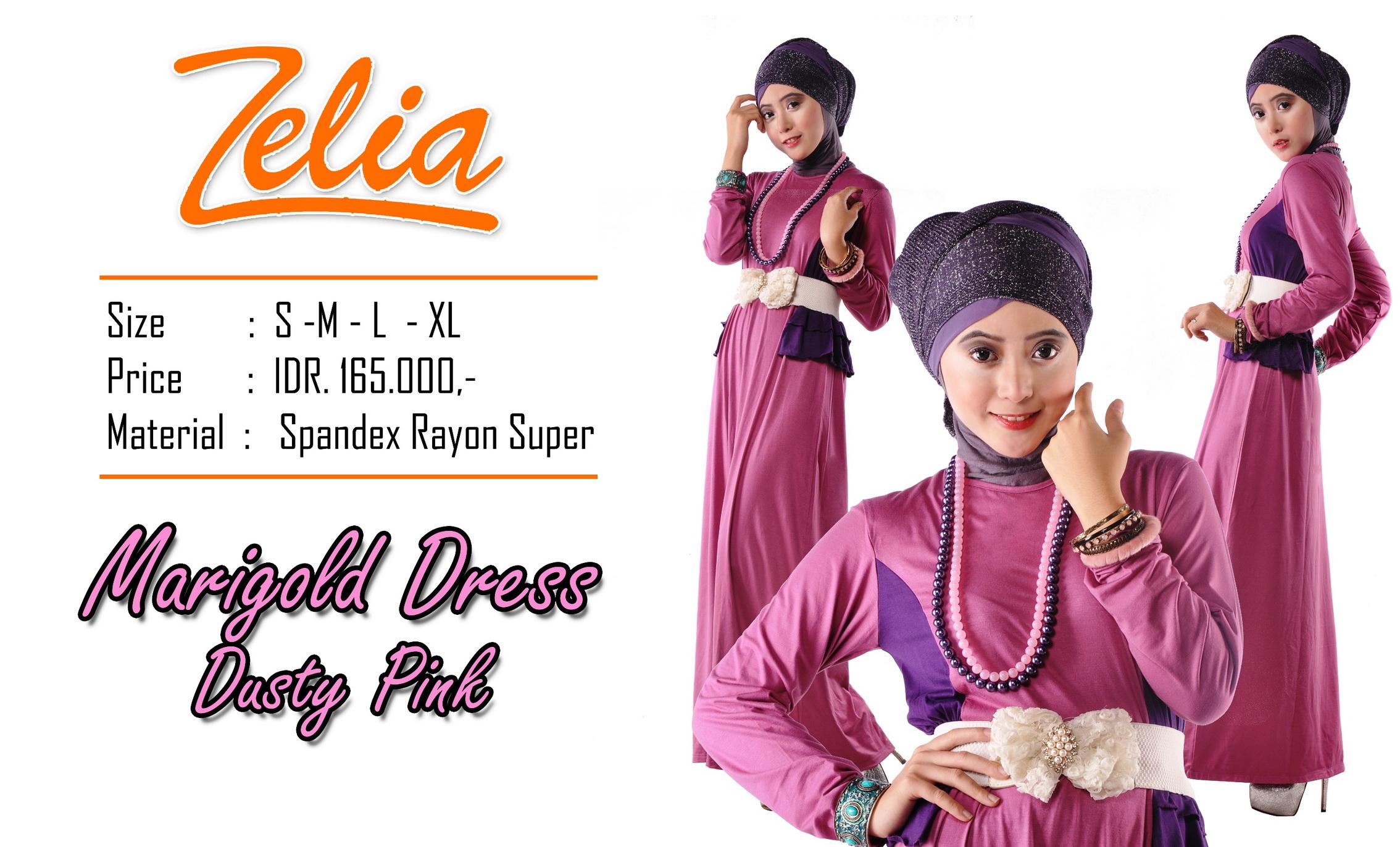 baju muslim modern, Pusat-Gamis-Terbaru-Zelia-Marigold-Dress-Dusty-pink