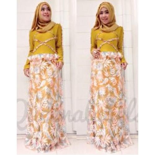 Vereline Dress Kunyit Baju Muslim Gamis Modern