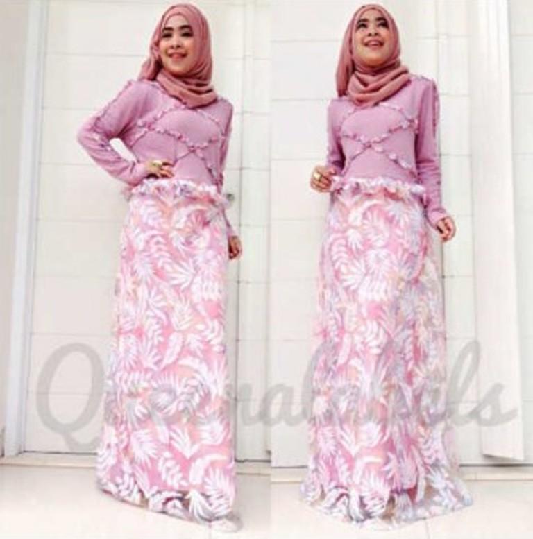 Vereline Dress Plum Baju Muslim Gamis Modern