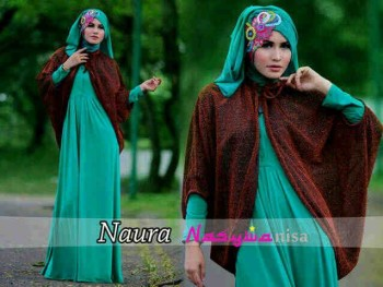 model busana muslim wanita 2014 Pusat-Gamis-terbaru-naura-by-Nasywannisa-Hijau-tosca