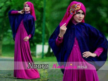 baju muslim modern terbaru Pusat-Gamis-terbaru-naura-by-Nasywannisa-Magenta