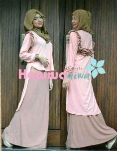 Model Baju Pesta Muslim Gamis-terbaru-Aquila-by-hawwaaiwa-Peach
