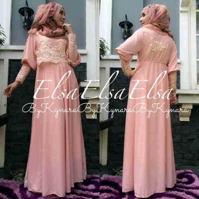 Elsa By Kynara Peach Baju Muslim Gamis Modern