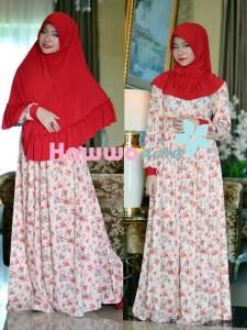 model baju muslim pesta Pusat-Gamis-Terbaru-Akifah-by-Hawwa-Aiwa-Red-Cream