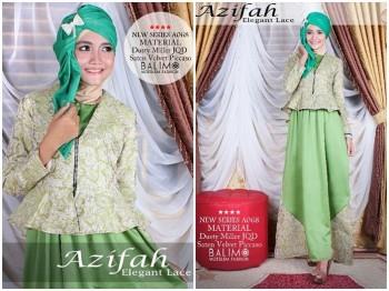 baju muslim harga grosir Pusat-Gamis-Terbaru-Balimo-Azifah-Green-Leaft