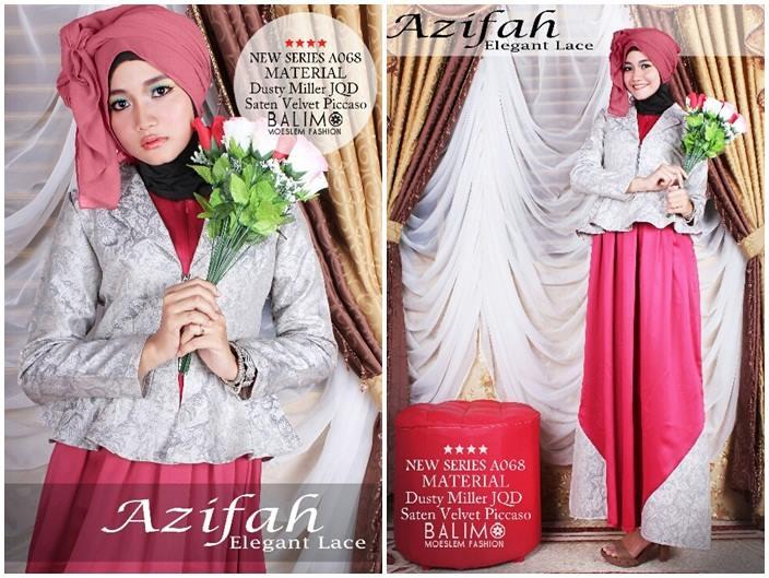 Balimo Azifah Red Baju Muslim Gamis Modern