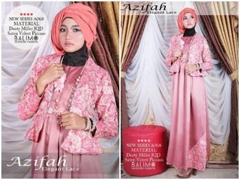 baju muslim modern trendy Pusat-Gamis-Terbaru-Balimo-Azifah-Salmon