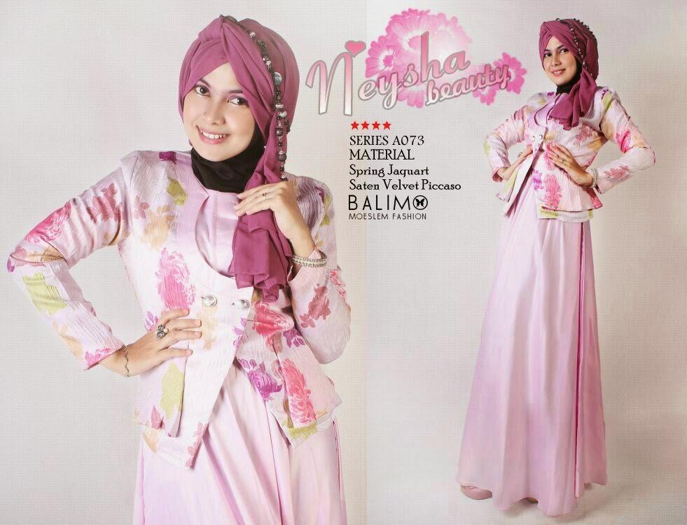 Balimo Neysha Pink Baju Muslim Gamis Modern