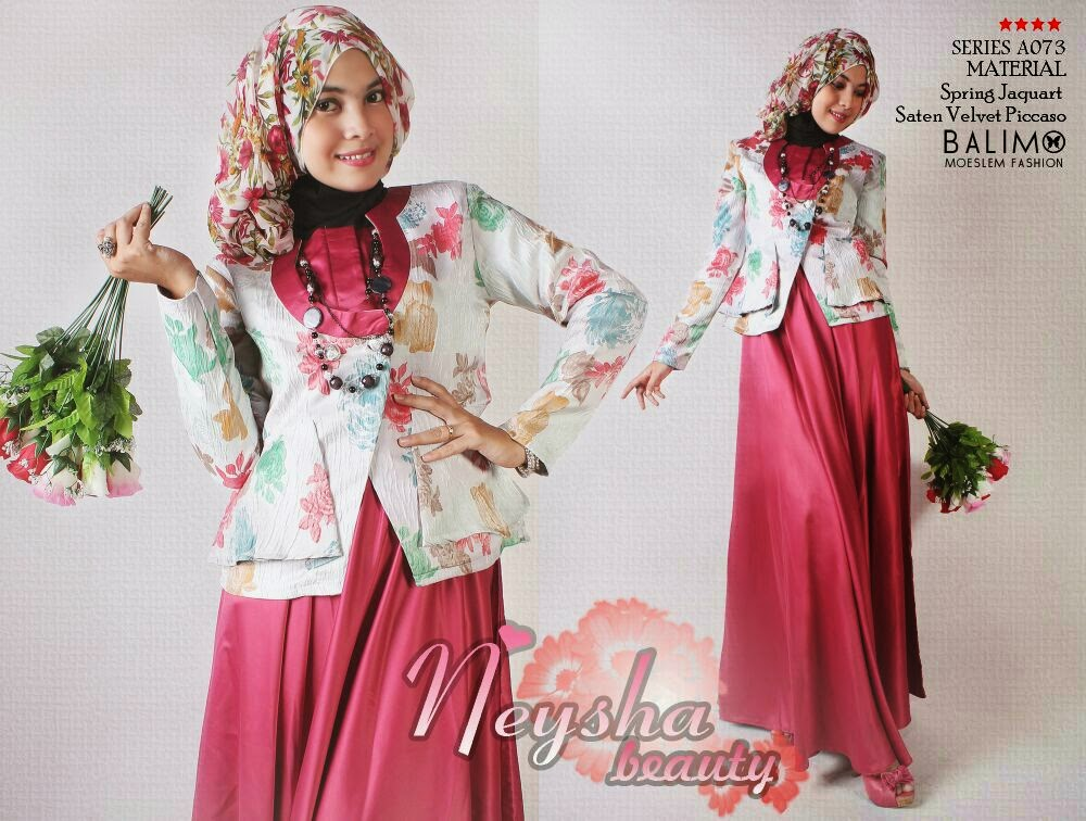 Balimo Neysha Red Baju Muslim Gamis Modern