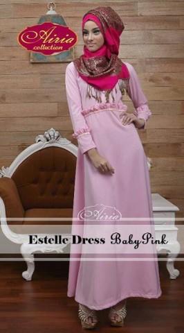 baju muslimah pesta, Pusat-Gamis-Terbaru-Estelle-Dress-by-Airia-Baby-Pink