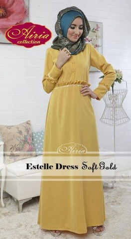 Model Gamis Fashion Pusat-Gamis-Terbaru-Estelle-Dress-by-Airia-Soft-Gold