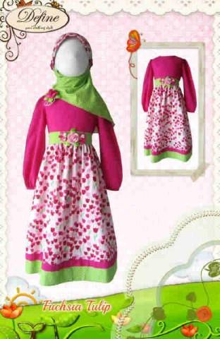 Model baju Muslim Anak Define Pusat-Gamis-Terbaru-Fuchsia-Tulip