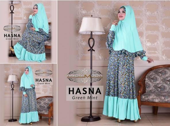 model baju muslim 2014 wanita, Pusat-Gamis-Terbaru-Hasna-Syar'i-(Gamis Dan Jilbab)-Green-Mint
