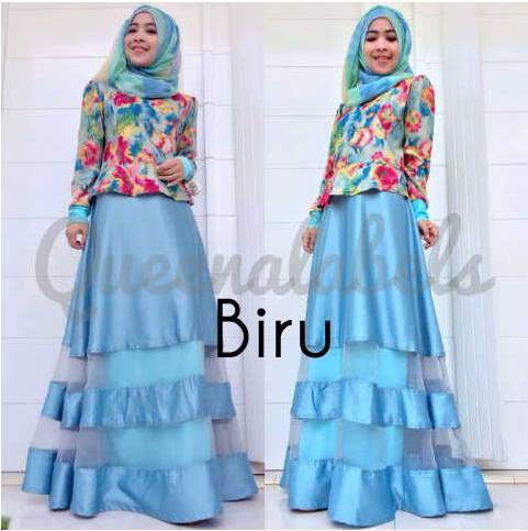 Mediva Vol 1 By Queena Biru Baju Muslim Gamis Modern