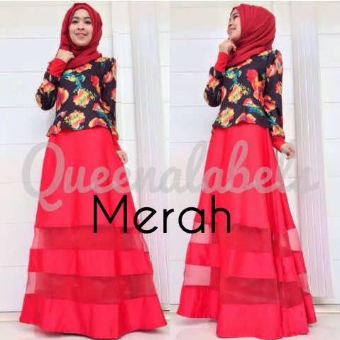 Mediva Vol 1 By Queena Merah Baju Muslim Gamis Modern