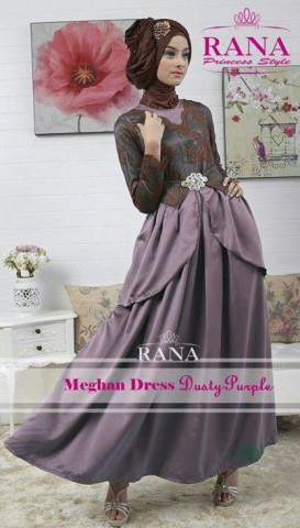 baju muslim trendy, Pusat-Gamis-Terbaru-Meghan-Dress-by-Rana-Dusty-Purple